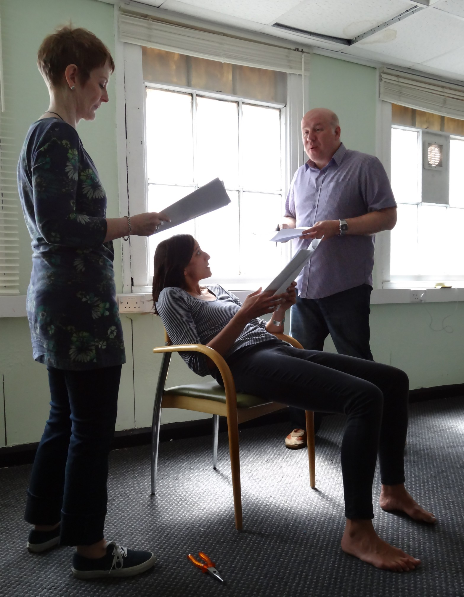 BOLDtext rehearsals - actors Jan Summerfield, Rochi Rampal and Marcus Hendry